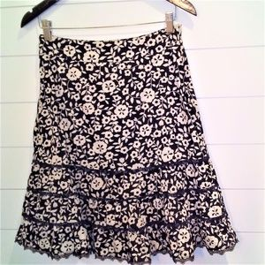 Odille Cotton Floral Tiered Skirt Black & Cream